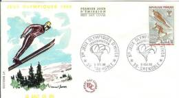 France 1968 FDC Jumps With Skis Winter Olympics Games Grenoble Sport - FDC