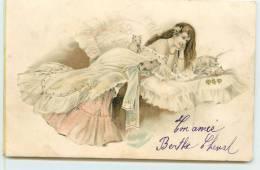 FEMME ET BEBES COCHONS.(carte Dans Le Gout De Vienne) - Cochons