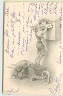 Lettre, Cochon, Enfant,poste (carte Dans Le Gout De Vienne) - Cochons