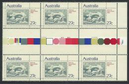 1982  National Stamp Week Colour  Gutter Block Of 6 X 27 Cent Stamps  Complete Mint Unhinged All Gum On Rear. - 1980-89 Elizabeth II