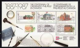 Canada MNH Scott #1125A Souvenir Sheet Of 4 Post Offices - Capex 87 - 1952-.... Règne D'Elizabeth II