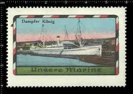 Old Original German Poster Stamp(cinderella,reklamemarke) SMS Steamer Dampfer Marine Warship Ship Schiff Battleship Navy - Militaria