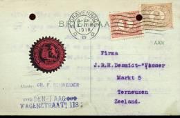 Briefkaart - 'sGravenhage 1918 - Schneider Den Haag - 1891-1948 (Wilhelmine)