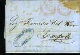 DB624-TOSCANA 1863 Lettera Contenuto FIRENZE-EMPOLI-timbro ROSSO STRADA FERRATA LEOPOLDO+bollo CRAZIE ESIGERE+blu DITTA - 1. ...-1850 Vorphilatelie