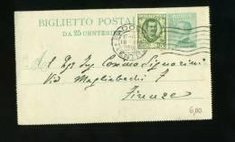 DB633-1929 Biglietto Postale Da C.25 Sovraaffrancato Con Francobollo C.25 - Poststempel