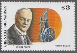 James Watt Written On Stamp In Place Of Rudolf Diesel, Mechanical Engineer, Diesel Engine, Railway Transport MNH Grenada - Trains