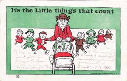It's The Little Things That Count, Frustrated Father With All 7 Toddlers And 2 Babies In Carriage, PU-1905 - Humour