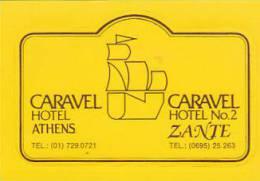 GREECE ATHENS & ZANTE CARAVEL HOTEL VINTAGE LUGGAGE LABEL - Hotel Labels