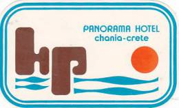 GREECE CRETE CHANIA PANORAMA HOTEL VINTAGE LUGGAGE LABEL - Hotel Labels