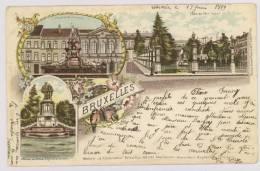 BRUXELLES : Fontaine De Brouckère, Place Du Petit Sablon, Statues Des Comtes D'Egmont Et De Horn, 1899 - Litho *f4454 - Monuments, édifices
