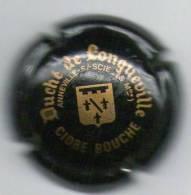 """CIDRE """" DUCHE DE LONGUEVILLE """" Quart Cidre Bouché Noir Et Or - Capsules & Plaques De Muselet"""