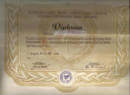 BOSNIA SARAJEVO.DIPLOME. ASSOCIATION DES POMPIERS - Documents Historiques
