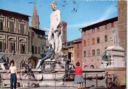 Firenze - Cartolina FONTANA DEL NETTUNO, PIAZZA DELLA SIGNORIA Anni '50 - OTTIMA E20 - Sculture