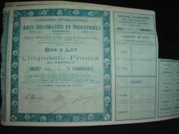 """Bon à Lots""""Exposition Internationale Des Arts Decoratifs Et Industriels""""Paris 1925 Excellent état. - Toerisme"""