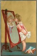 Devant Le Miroir. Chromo Dorée 7.5 X 11.5 Env.  J. Blais Paris - Trade Cards