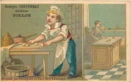 Publicité Georges Servonnat Coiffeur à TOULON, Rue Neuve. Chromo 6.7 X 10.3 Env.  2 Scans - Autres