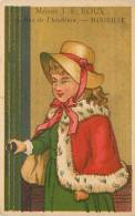 Publicité Maison Roux, Porcelaines MARSEILLE, Rue De L'Académie. Cristaux. Chromo Dorée 6.5 X 10 Env.  2 Scans - Trade Cards