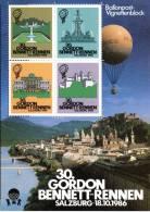 30th Gordon Bennett Cup Salzburg 18.10.1986 Austria Label-Sheet Ballonpost Hot Air Balloon Poster Sheet Cinderella - Montgolfières