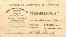 7501116 7501116 Paris 11e FABRIQUE DE LUNETTERIE ET D OPTIQUE  MANDRILLON ET CIE 46 RUE DU FAUBOURG DU TEMPLE FABRIQUE D - Arrondissement: 11