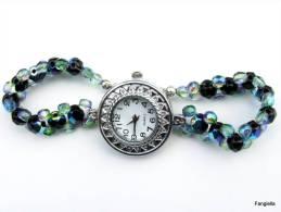 Montre Noir Bleu Vert Irisé Perles En Cristal Tchèque Facettées  Pour Un Poignet De 18,5cm Maximum. - Watches: Jewels