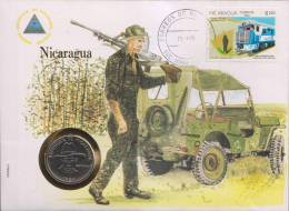 Gun, Jeep, Automobile, Train, Locomotive, Numismatic Cover, Coin, Nicaragua - Nicaragua