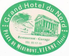 FRANCE VIENNE GRAND HOTEL DU NORD VINTAGE LUGGAGE LABEL - Etiketten Van Hotels