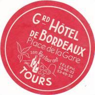 FRANCE TOURS GRAND HOTEL DE BORDEAUX VINTAGE LUGGAGE LABEL - Etiketten Van Hotels