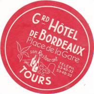 FRANCE TOURS GRAND HOTEL DE BORDEAUX VINTAGE LUGGAGE LABEL - Hotel Labels