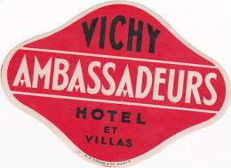 FRANCE VICHY AMBASSADEURS HOTEL & VILLAS VINTAGE LUGGAGE LABEL - Hotel Labels