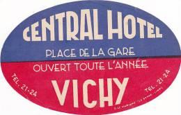 FRANCE VICHY CENTRAL HOTEL VINTAGE LUGGAGE LABEL - Etiketten Van Hotels