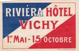 FRANCE VICHY RIVIERA HOTEL VINTAGE LUGGAGE LABEL - Hotel Labels