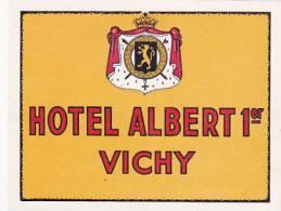FRANCE VICHY HOTEL ALBERT 1er VINTAGE LUGGAGE LABEL - Etiketten Van Hotels
