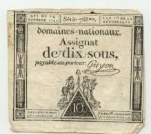 FRANCE : Assignat 10 Sous 1792. Serie 768 - Assignats