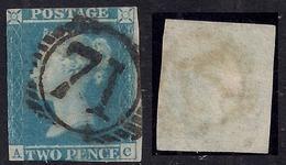GB 1841 QV 2d BLUE IMPERF USED STAMP ( A & C ) PMK 71 WMK 2. ( E811 ) - 1840-1901 (Victoria)