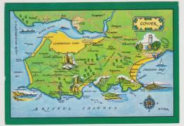 GOWER - CARTE - MAP - Pays De Galles