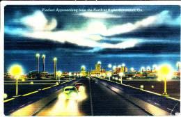 SAVANNAH GA - Viaduct Approaching From The North At Night - 1951 - Savannah
