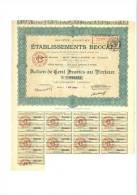 Etablissements Beccat  Action De 100 Francs 19 Janvier 1914 - Actions & Titres