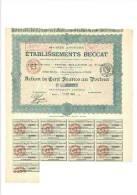 Etablissements Beccat  Action De 100 Francs 19 Janvier 1914 Capital 3 MF - Actions & Titres
