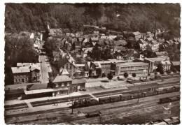 Rare- - En Avion Au-dessus De Schirmeck-gare Et Groupe Scolaire  (train Vapeur)-CPSM - Voyagé - Schirmeck