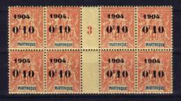 Martinique  N° 55 Neuf ** Bloc De 8 Avec Millésime 3 - Unused Stamps