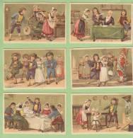 6 Chromos Dorées : Le Mariage. Les Accordailles, Le Contrat, Départ Noce, Sortie Eglise, Repas, Ménage. 2 Scans. - Autres