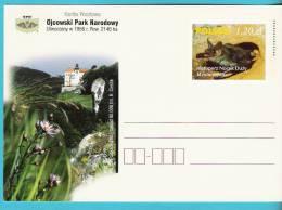 Poland 2003,entire,postcard,  Park National Parc (2), Animals Animaux, Bat Mountains Montagnes,castle Chateau Flowers - Bats