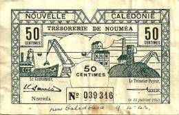 NEW CALEDONIA 50 CENTIMES MINE FRONT ANIMAL HEAD BACK WWII EMERGENCY ISSUE DATED 15-06-1942 P51 AVF READ DESCRIPTION!! - Nouméa (New Caledonia 1873-1985)