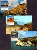 ISRAEL - 2012 - Visit Israel - Rosh Hanikra - Jaffa - Solomon´s Pillars At Timna - A Set Of 3 Maximum Cards - FDI Cancel - Holidays & Tourism