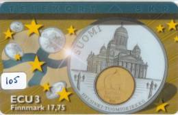 Denmark EURO ECU FINLAND  (105) PIECES ET MONNAIES MONNAIE COIN MONEY PRIVE 700 EX * FLAG * P-128 - Timbres & Monnaies