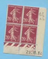 Semeuse 20 C. Lilas En Bloc De 4 Coin Daté - 1906-38 Semeuse Camée