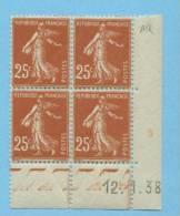 Semeuse 25 C. Brun Jaune En Bloc De 4 Coin Daté - 1906-38 Semeuse Camée