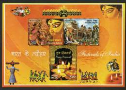 2008 FESTIWALS OF INDIA Block M/S  MASKS ELEPHANT  CARNIWAL GODDESS KALI # 03774  S   Indien Inde - Blocks & Sheetlets