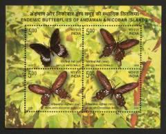 India 2008  ENDANGERED BUTTERFLIES  Bloc Miniature Sheet  PAPILLONS  # 14672 S  Inde Indien - Blocks & Sheetlets