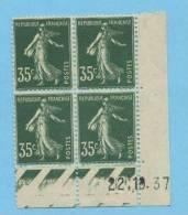 Semeuse 35 C. Vert En Bloc De 4 Coin Daté - 1906-38 Semeuse Camée